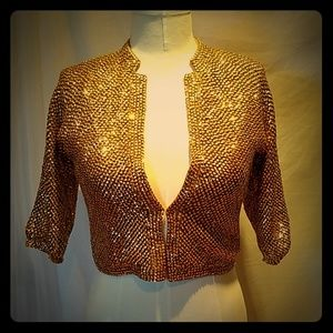 Vintage gold sequin + bead sweater